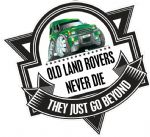 Koolart OLD LAND ROVERS NEVER DIE Slogan For Land Rover Discovery 1 & 2 External Vinyl Car Sticker Decal Badge 100x100mm